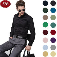 Cozy Mens Stylish Slim Fit Casual Shirts Long Sleeve Dress Shirts Men Shirts 17C