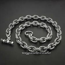 "18"" ~ 36"" 316L Stainless Steel Double Heart Mens Biker Necklace Chain 5S003N"
