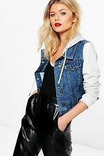 Boohoo Womens Ella Denim Jacket With Jersey Sleeves and Hood