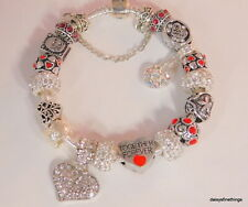 """AUTHENTIC PANDORA BANGLE BRACELET W/ CHARMS """"TOGETHER FOREVER""""  RED HINGED BOX"""