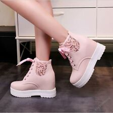 Womens Hidden Wedge Heels Ankle Boots Lace Up Platform Lace PU Leather Shoes SZ
