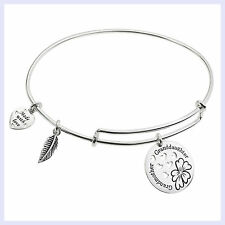 925 Sterling Silver Grandmother Granddaughter Love Charm Adjustable Wire Bangle