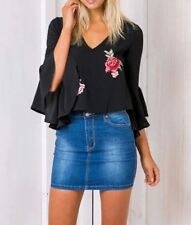 New Womens Black/White Embroidered Patch Sexy V-Neck Blouse Tops Shirt