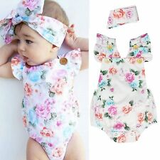 Newborn Infant Baby Girls Floral Cotton Romper Headband Jumpsuit Clothes Outfits