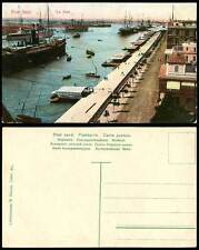 Egypt Old Postcard Port Said Le Port Harbour, Military Vessels Steam Ships Boats