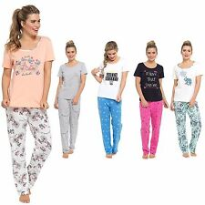 Ladies Cotton Jersey Pyjama Set Short Sleeve T Shirt Pjs  Nightwear Sizes 8-22