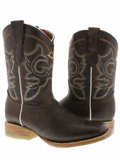 Women's Brown Mid CalfWestern  Leather Cowboy Boots Short Square Rodeo