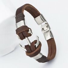 Fashion Charm Leather Anchor Men's Bracelets Hot  Bangle Handmade Leather Bracel