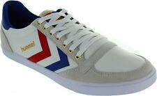 Hummel Slimmer Stadil Men's White/blue/red/gum Slim Low Cut Lace Up Trainers New