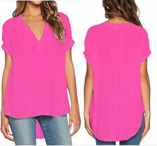 UK Wome short sleeve Chiffon tops ladys T Shirt Blouse irregular TopS plus size