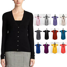 ladies Womens V Neck wool Jumper Sweater Fitted Cashmere Cardigan Size 0-10