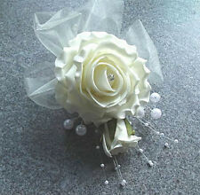 Wedding Flowers - Ladies Rose & Pearl Corsage / Buttonhole, All colour ribbon