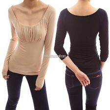 Fashion Ladies Women Scoop Neck Long Sleeve Ruched Solid Slim Casual Blouse N98B