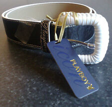 BRAND NEW PLAYBOY BELT IN BLACK  WITH WHITE PLAITED BUCKLE