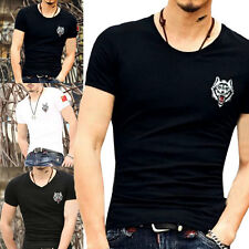 New Mens T Shirt Cotton Slim Fit Muscle Top Short Sleeve Plain Designer Summer