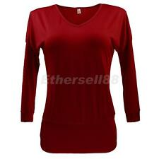 Sexy Ladies Womens V Neck Long Sleeve Basic Tunic Top Blouse Semi Fit Shirts Red