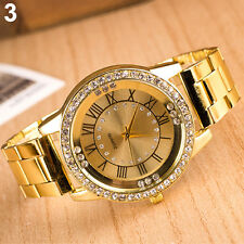 Men Lady Rhinestone Roman Numerals Alloy Band Round Analog Quartz Watch Bluelans