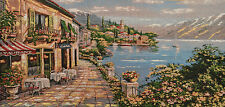 "30"" COTTON NEEDLEPOINT WOVEN PAINTING TAPESTRY: MEDITERRANEAN SEASCAPE TOWN"
