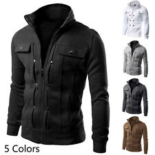 New Fashion Men's Slim Fit Stand Collar Coat Military Jacket Outwear Blazer Tops