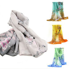 Womens Ladies Long Chiffon Stole Scrawl Flower Printed Wrap Soft Scarf Fashion