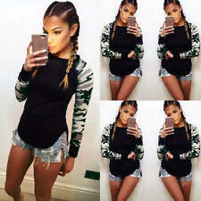 Womens Camouflage Printed T-Shirts Ladies Long Sleeve Casual Blouse Tops Shirt