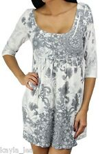Gray Floral 3/4 Sleeve Sublimation Soft Sweater Knit Tunic/Mini