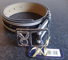 BRAND NEW PLAYBOY BELT IN BLACK OR SILVER WITH DIAMANTE BUNNY HEAD BUCKLE