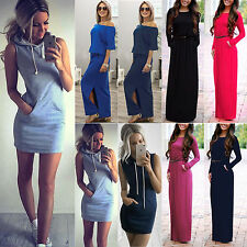 Women Party Evening Cocktail Bodycon Slim Fit Long Maxi / Short Pocket Dress US