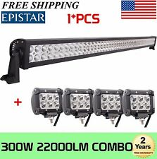 52INCH 300W Combo LED Work Light Bar+4X 4'' inch 18W Truck Offroad Driving Lamp