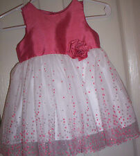 GIRL~GEORGE~DARK ORANGE SILKY SLEEVELESS BODICE/WHITE SPARKLE TUTU DRESS :3-6MOS