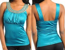 Teal Embellished Neckline Ghost Safari-Zebra/Tiger/Leopard/Cheetah/Giraffe Top