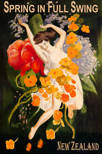 NEW ZEALAND SPRING FULL SWING GIRL DANCING FLOWERS TRAVEL VINTAGE POSTER REPRO
