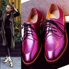 Womens Sheepskin Leather Flats Oxfords Lace Up Bright Party Shoes Punk Casual
