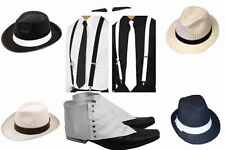 UNISEX DELUXE GANGSTER SET FANCY DRESS COSTUME ACCESSORY KIT TRILBY FEDORA 1920s