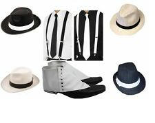 UNISEX DELUXE GANGSTER SET COSTUME ACCESSORY KIT TRILBY FEDORA 1920s FANCY DRESS