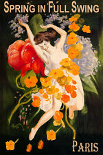 PARIS SPRING IN FULL SWING GIRL DANCING WITH FLOWERS TRAVEL VINTAGE POSTER REPRO
