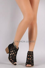 *BLACK CAGED STRAPPY OPEN TOE Booties Shoes Stacked Heels Ankle Peep BOHO 5-10