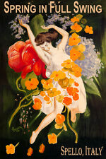SPELLO ITALY SPRING FULL SWING GIRL DANCING FLOWERS TRAVEL VINTAGE POSTER REPRO