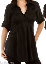 Black Pleated Button Front 3/4 Roll Sleeve Tunic Top S