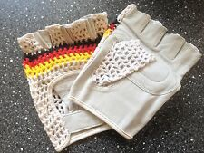 ~ NOS Classic Crochet & Fine Leather Track Mitts ~ GORGEOUS quality ~