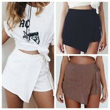 Women Lady Irregular Bandage Summer Skort Short Mini Skirt Shorts Culottes Pants