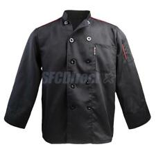 2 PCS BLACK CHEFS JACKET LONG SLEEVE CHEF COAT CHEFS UNIFORM UNISEX