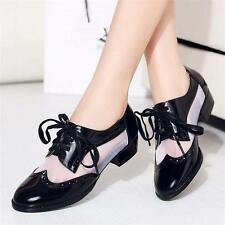 Womens Patent Leather Brogue Oxfords Casual Breathable Ankle Boots Shoes YJ