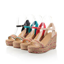 All US Size Women's Platform Wedge High Heels Ankle Strap Shoes Open Toe Sandals