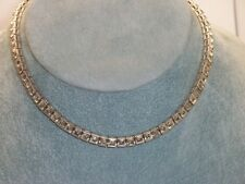 Vintage Rhodium Plated Crown Trifari Tennis Style Rhinestone Choker Necklace