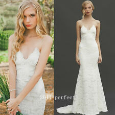 2017 Summer Beach White Ivory Wedding Dresses Bridal Backless Lace Gown Custom