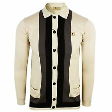 GABICCI VINTAGE KNITTED POLO SHIRT DYLAN MENS OAT LONG SLEEVE CARDIGAN