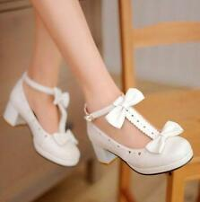 New Womens Mary Janes Lolita Sweet Bow Tie T-Strap Cosplay Shoes PU Leather size