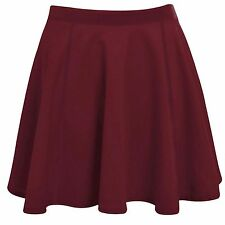 LADIES STRETCH SKATER SKIRT WOMENS MINI PARTY PLAIN FLARED CIRCLE SKIRTS WORK
