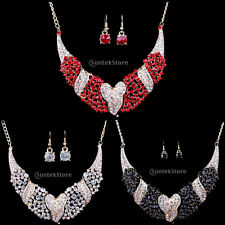 Charming Prom Wedding Bridal Jewelry Crystal Rhinestone Necklace Earrings Set